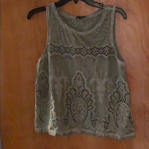 Express olive green distressed tank top